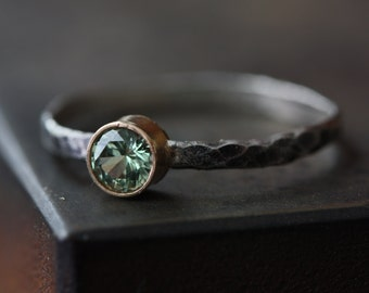 Natural Green Sapphire Ring- 14kt gold bezel setting, hammered, sterling silver band, oxidized, engagement, mixed metal