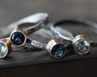 Natural Blue Sapphire Ring- 14kt, sterling silver- as seen in LUCKY Magazine