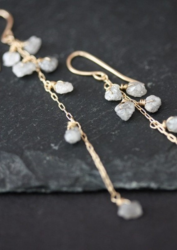 Rough Diamond Cascade Earrings- 14kt gold- wedding- long- raw natural diamond- silver