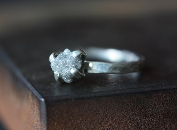 Rough DIamond Ring In Sterling Silver Engagement Ring
