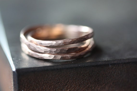 Hammered Rose Gold Stacking Ring - wedding band