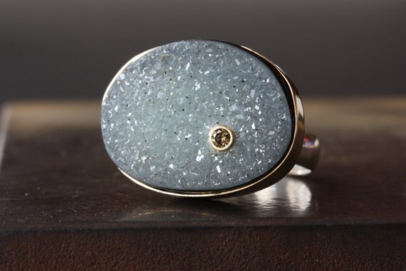 Druzy Agate and Chocolate Diamond Ring in 14kt Gold and Sterling Silver
