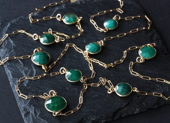 Long Rose Cut Emerald Station Necklace in 14kt Gold- as seen in Destination Weddings