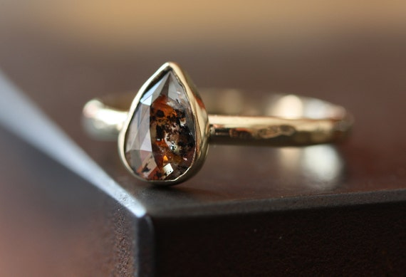 One of a Kind Red Pear Rose Cut Diamond Stacking Ring in 14kt Gold- engagement ring- wedding ring- hammered- teardrop- modern