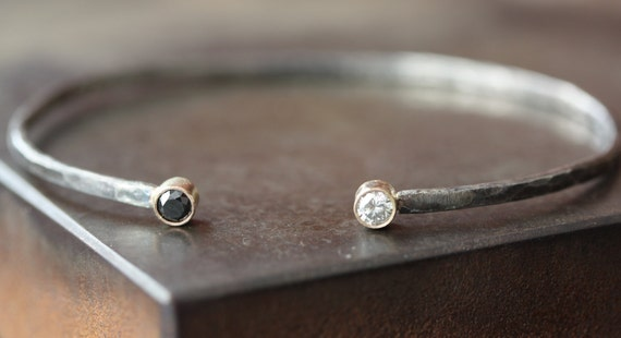 Black and White Diamond Cuff Bracelet in Sterling Silver and 14kt Gold-wedding jewelry, diamond bracelet, mixed metal, simple, modern