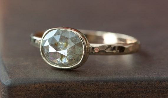 Grey-Green Diamond in 14kt Yellow Gold- rose cut, cushion cut, engagement ring, wedding ring, hammered, bezel