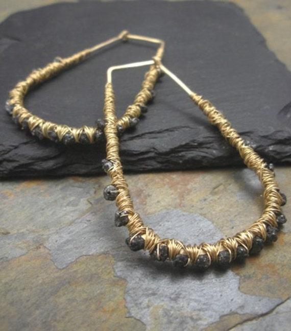NEW - Luxe Raw Black Diamond Hoops Earrings
