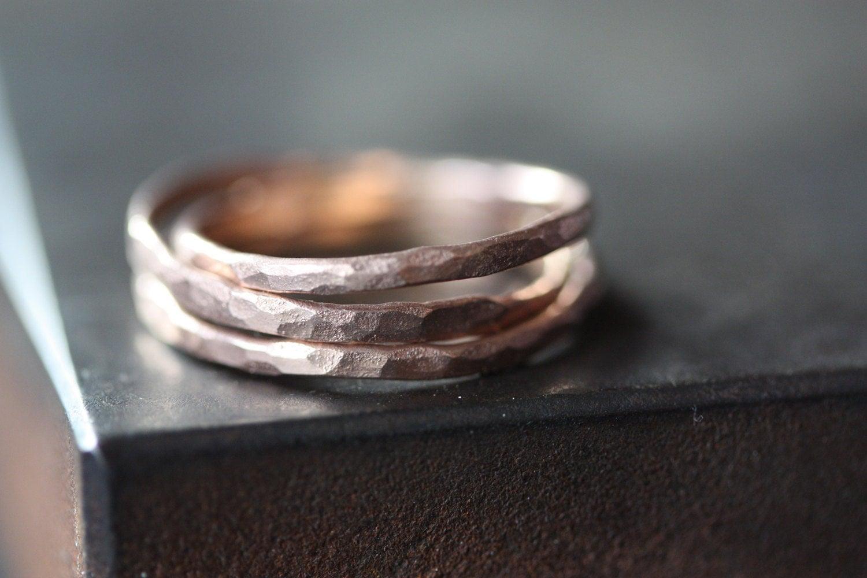Hammered Rose Gold Stacking Ring Wedding Band