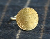 Five Centime Ring- Custom Stamping Available