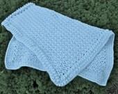 Hand Crocheted Blue Baby Blanket