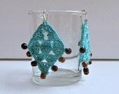 Green Diamonds - Crochet Cotton Thread Earrings
