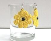 Black-eyed Susans - Crochet Cotton Thread Earrings