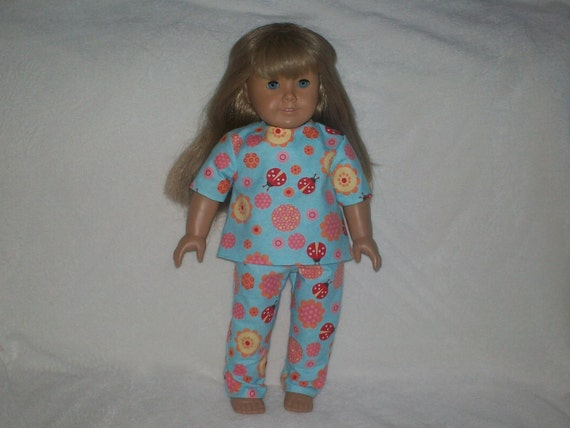 American Girl Doll Clothes -- Lady Bug and Flower Flannel Pajamas