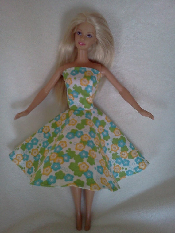 Barbie Doll Clothes -- Fun Summer Flowers Sleeveless Spring or Summer Dress
