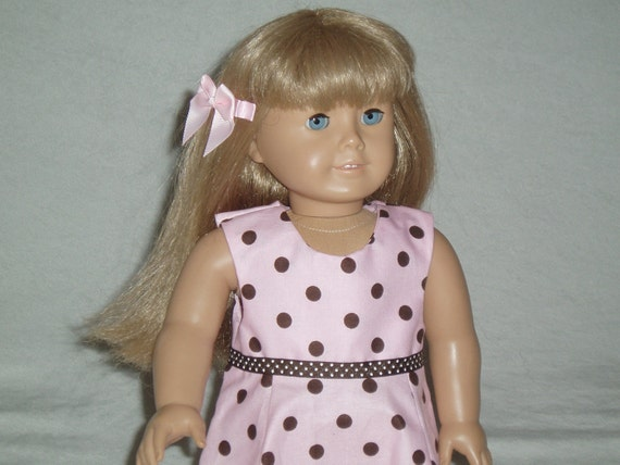 American Girl Doll Clothes -- Chocolate and Pink Summer or Spring Dress