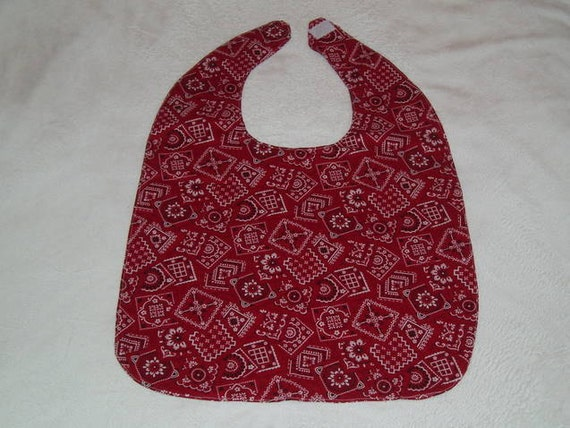 Clothing Protector Bib -- Red Handkerchief -- For Elderly, Special Needs, Art Smock, Apron...