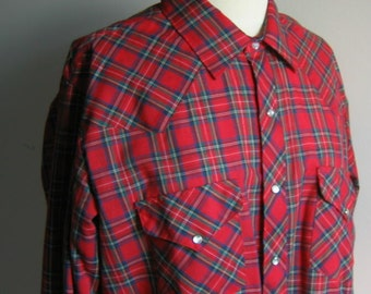 Vintage Red Plaid Western Shirt with Pearl Snaps