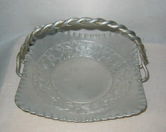 Vintage Shabby Art Nouveau Flowers Aluminum Tray With Twisted Handle