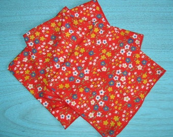 Vintage Red with Country Floral Fabric Napkins