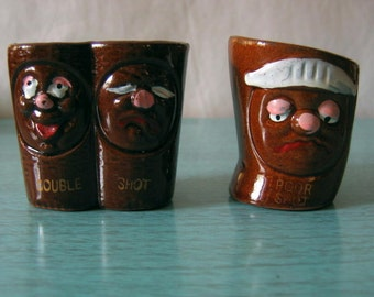 Set of 6 Vintage Novelty Pottery Shot Glasses
