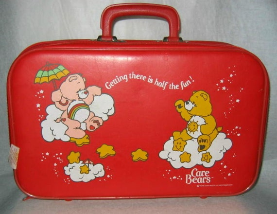 Vintage Care Bears Red Vinyl Suitcase 1983
