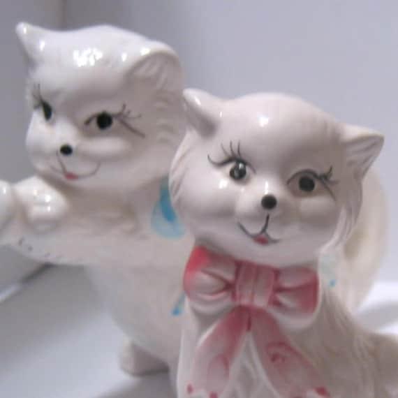 Super Cute Kitschy Vintage Kitty Cat Sugar Cream Salt and Pepper Set
