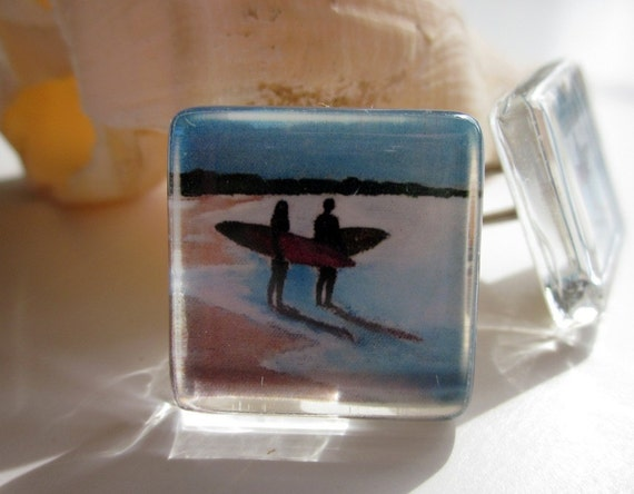 Surfing cuff links cufflinks- wedding, Christmas, fiance, husband, groom, father by Cathie Carlson