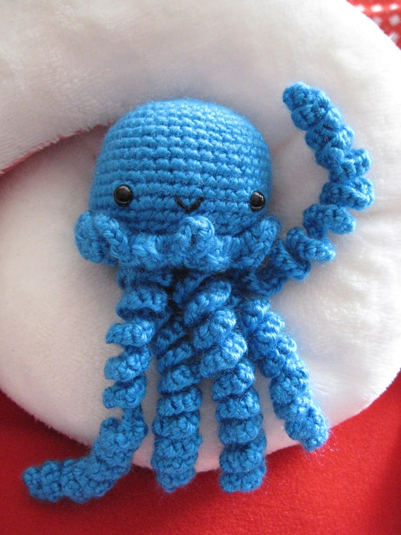 Blue Jelly Jellyfish Crochet Amigurumi Premade by AwkwardSoul