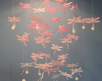 Dragonfly Mobile in Shades of Pink - MEDIUM