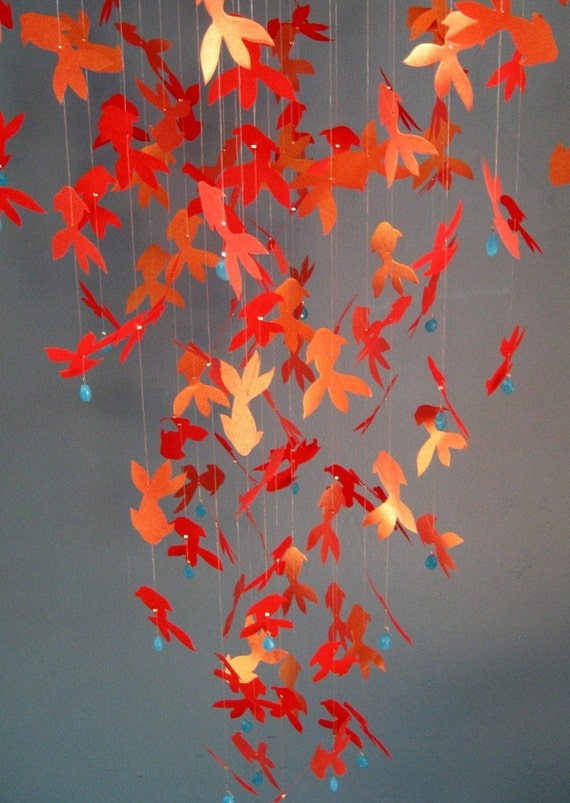 Shimmery Red/Gold KOI FISH Paper Mobile - LARGE