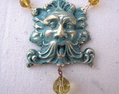 Hand painted Green Man necklace with yellow glass beads