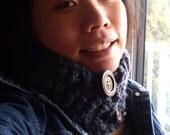 stormy twilight superchunk - crocheted cowl scarflette