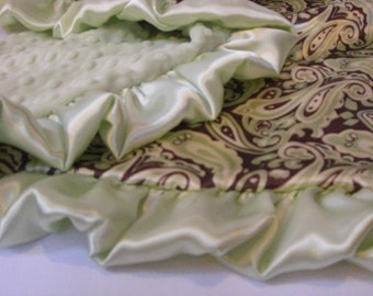 Sage Green and Brown Paisley Satin Minky Baby Blanket for Boy - personalized