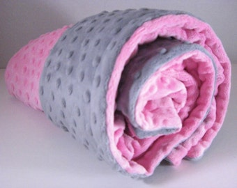 Hot Pink and Gray Minky Baby Blanket many sizes available