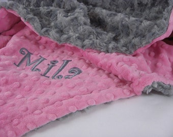 Hot Pink and Charcoal Gray Rose Swirl Minky Baby Blanket, Can Be Personalized, Baby Girl Blanket, Toddler Blanket