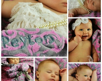 Hot Pink and Gray Vine Minky Baby Blanket, can be personalized with a name