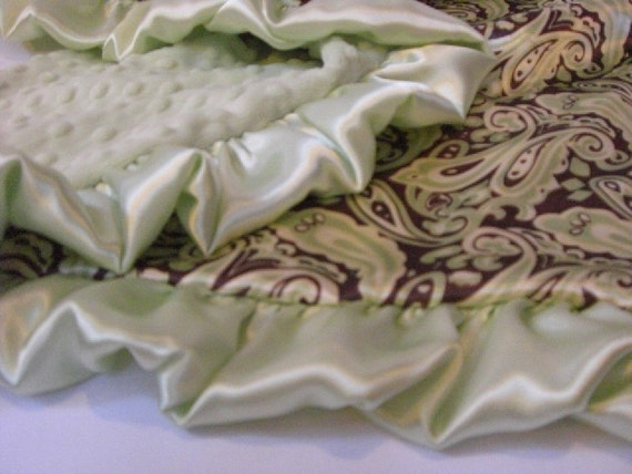 Sage Green and Brown Paisley Satin Minky Baby Blanket for Boy - personalized Can Be Personalized