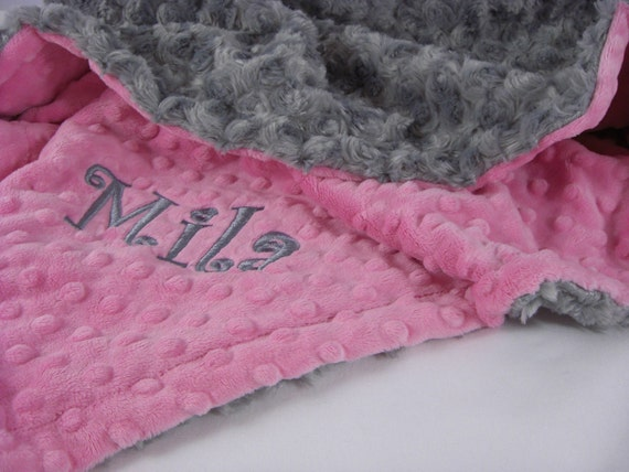Hot Pink and Charcoal Gray Rose Swirl Minky Baby Blanket, , Baby Girl Blanket, Toddler Blanket Can Be Personalized