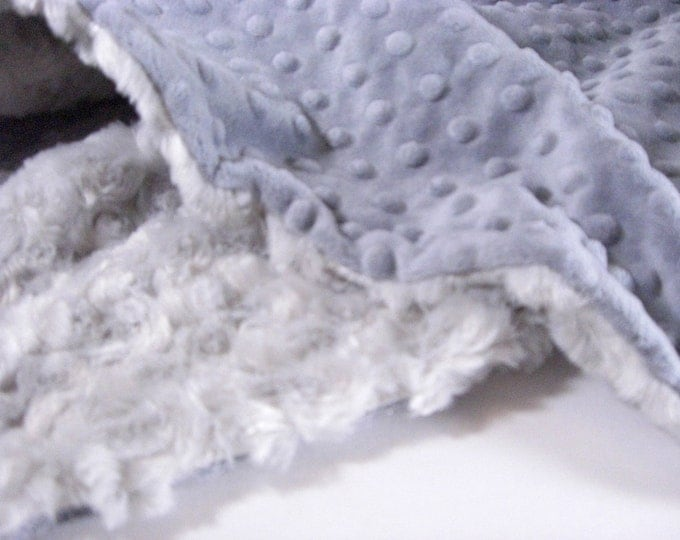 Charcoal Gray Minky Dot and Light Silver Swirl Minky Baby Blanket Can Be Personalized