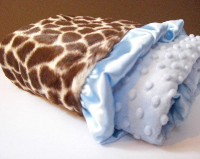 Brown Giraffe and Blue Dot Minky Baby Blanket with personalization option Can Be Personalized