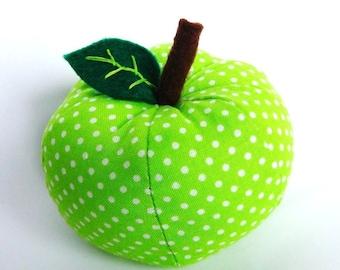 FREE SHIPPING - Apple-Green Dottie Apple Pincushion