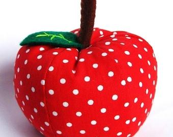 FREE SHIPPING - Red Dottie Apple Pincushion