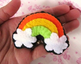 FREE SHIPPING - The Felt Brooch - Happy Rainbow (Orange, Yellow, Green)