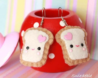 FREE SHIPPING! Last Pair - Felt Plush Earrings - Kawaii Teemie Toasts