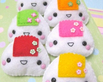 FREE SHIPPING - Onigiri Felt Brooch - Choose ONE of Your Favorites - Yellow Red Pink Green or Orange