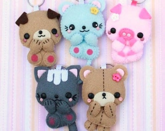 FREE SHIPPING! - Choose ONE Pet Keychain - Dog Mouse Piggy Kitty or Teddy