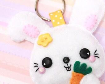 Free Shipping - Hebe the Rabbit Felt Keychain