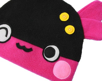 FREE SHIPPING - Fleece Hat for Kids - Roofles Pink Monster