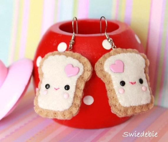 FREE SHIPPING! Last Pair - Felt Plush Earrings - Kawaii Teemie Toasts