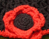 Black and Red Hat and Scarf Set with Large flower